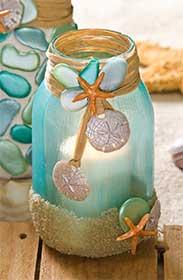Mason Jar Candle Holder for a Beach Wedding
