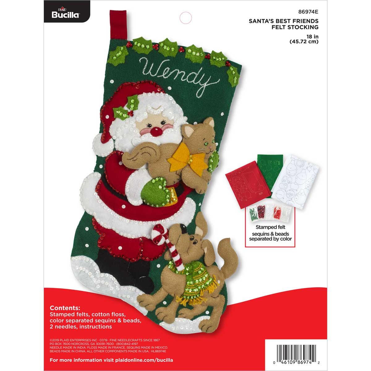 Bucilla ® Seasonal - Felt - Stocking Kits - Santa's Best Friend - 86974E