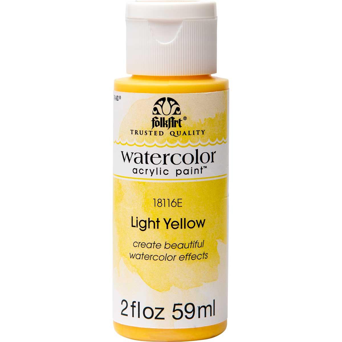 FolkArt ® Watercolor Acrylic Paint™ - Light Yellow, 2 oz. - 18116