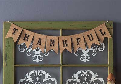 Thankful Banner with Stenciled Window