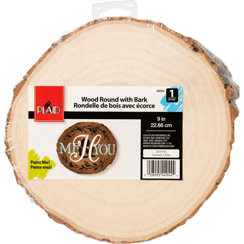 "Plaid ® Wood Surfaces - Wood Round with Bark, 9"" - 44944"