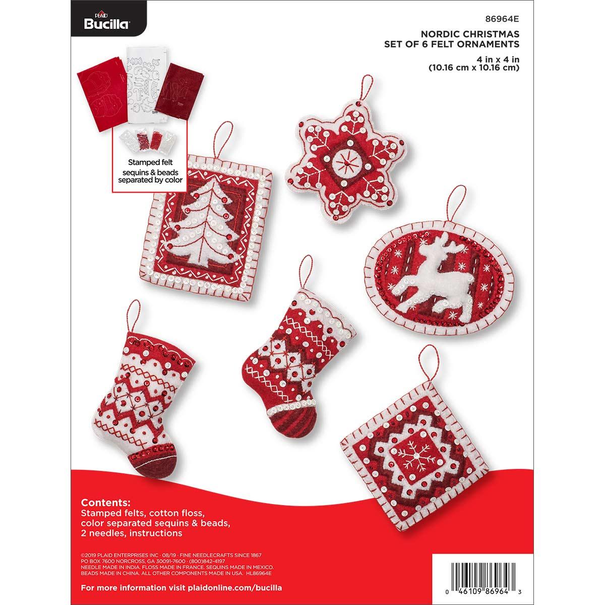 Bucilla ® Seasonal - Felt - Ornament Kits - Nordic Christmas - 86964E