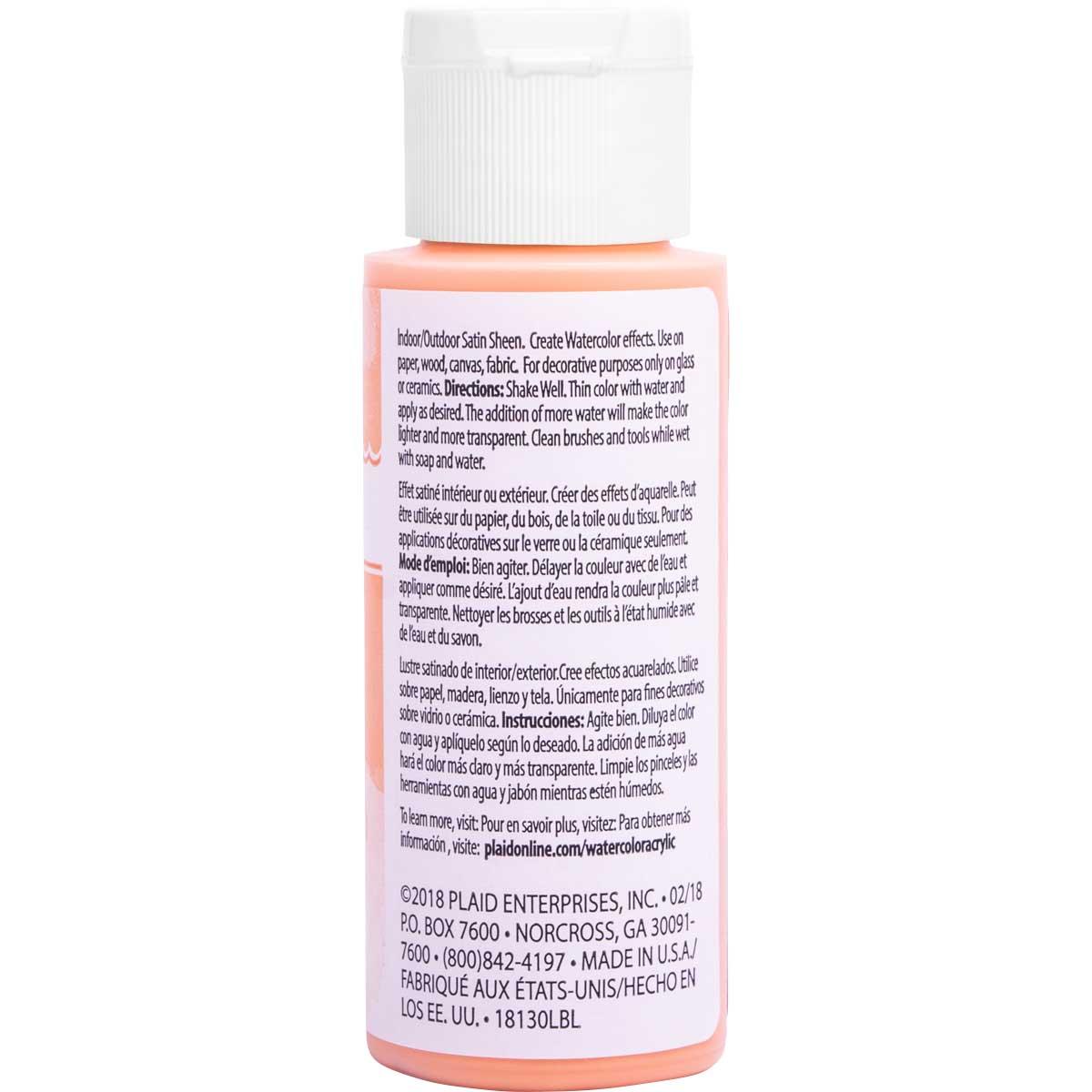 FolkArt ® Watercolor Acrylic Paint™ - Pastel Orange, 2 oz.