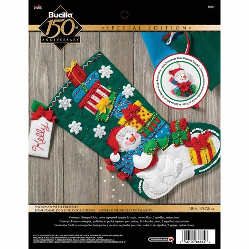 Bucilla ® Seasonal - Felt - Stocking Kits - Snowman With Presents - 86864