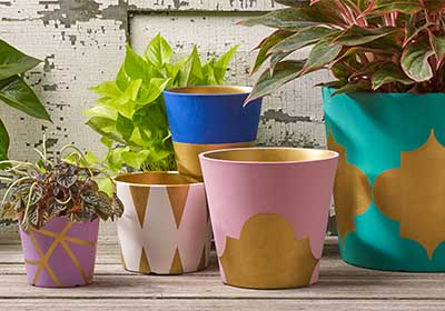 Geode-Inspired Painted Flower Pots
