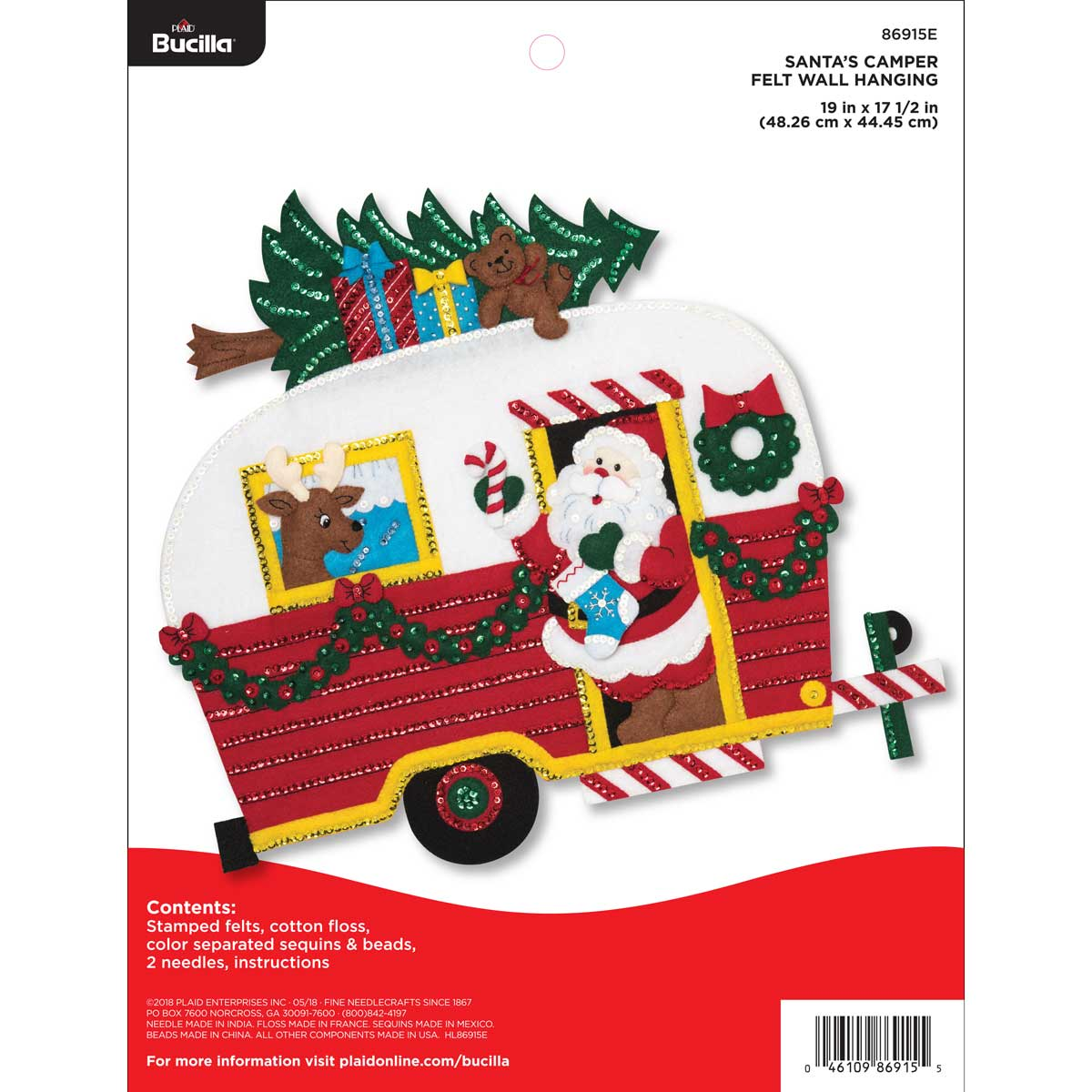 Bucilla ® Seasonal - Felt - Home Decor - Santa's Camper Wall Hanging