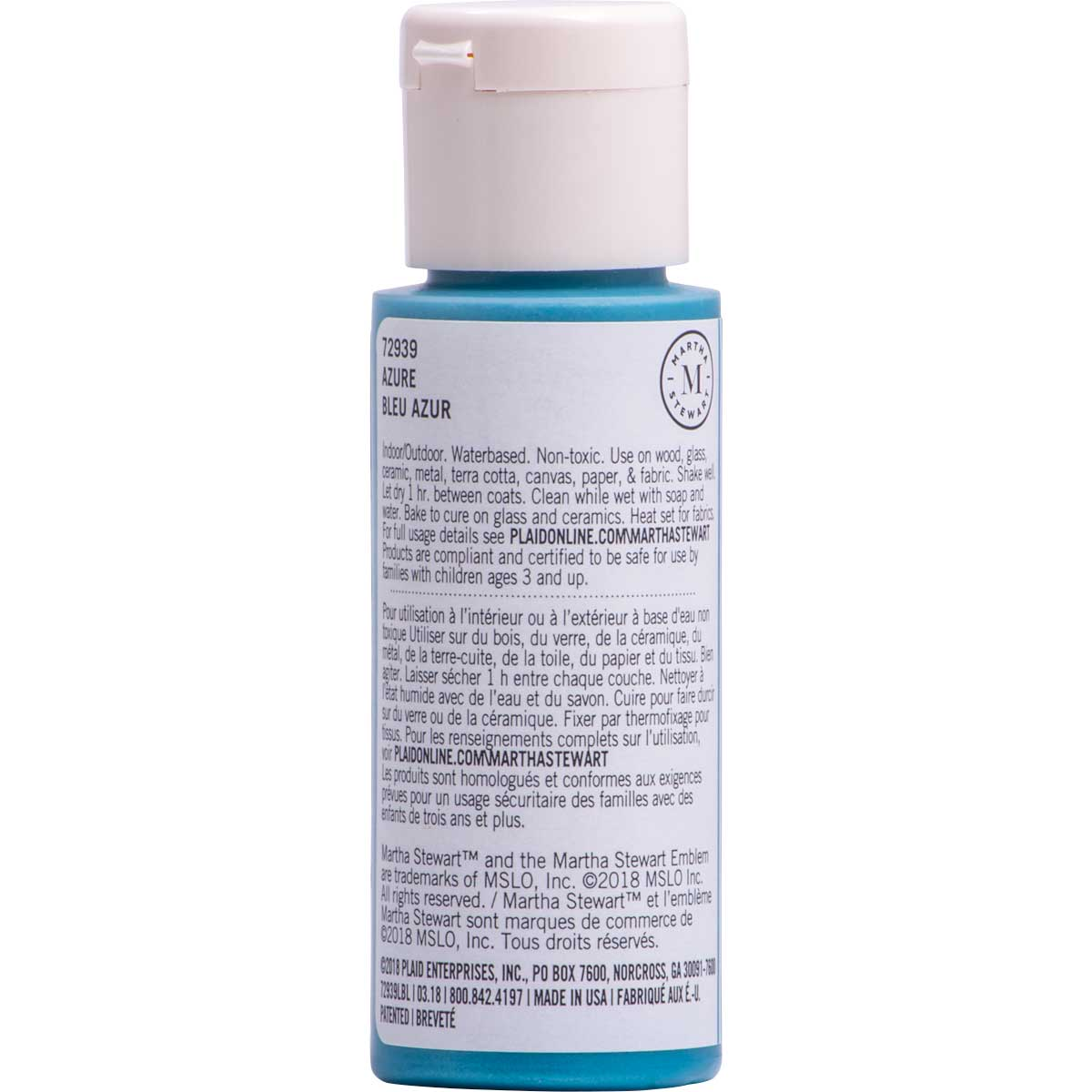 Martha Stewart ® Multi-Surface Pearl Acrylic Craft Paint CPSIA - Azure, 2 oz. - 72939