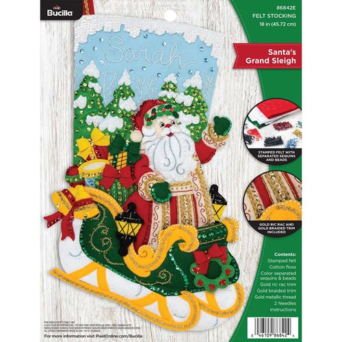 Bucilla ® Seasonal - Felt - Stocking Kits - Santa's Grand Sleigh - 86842E