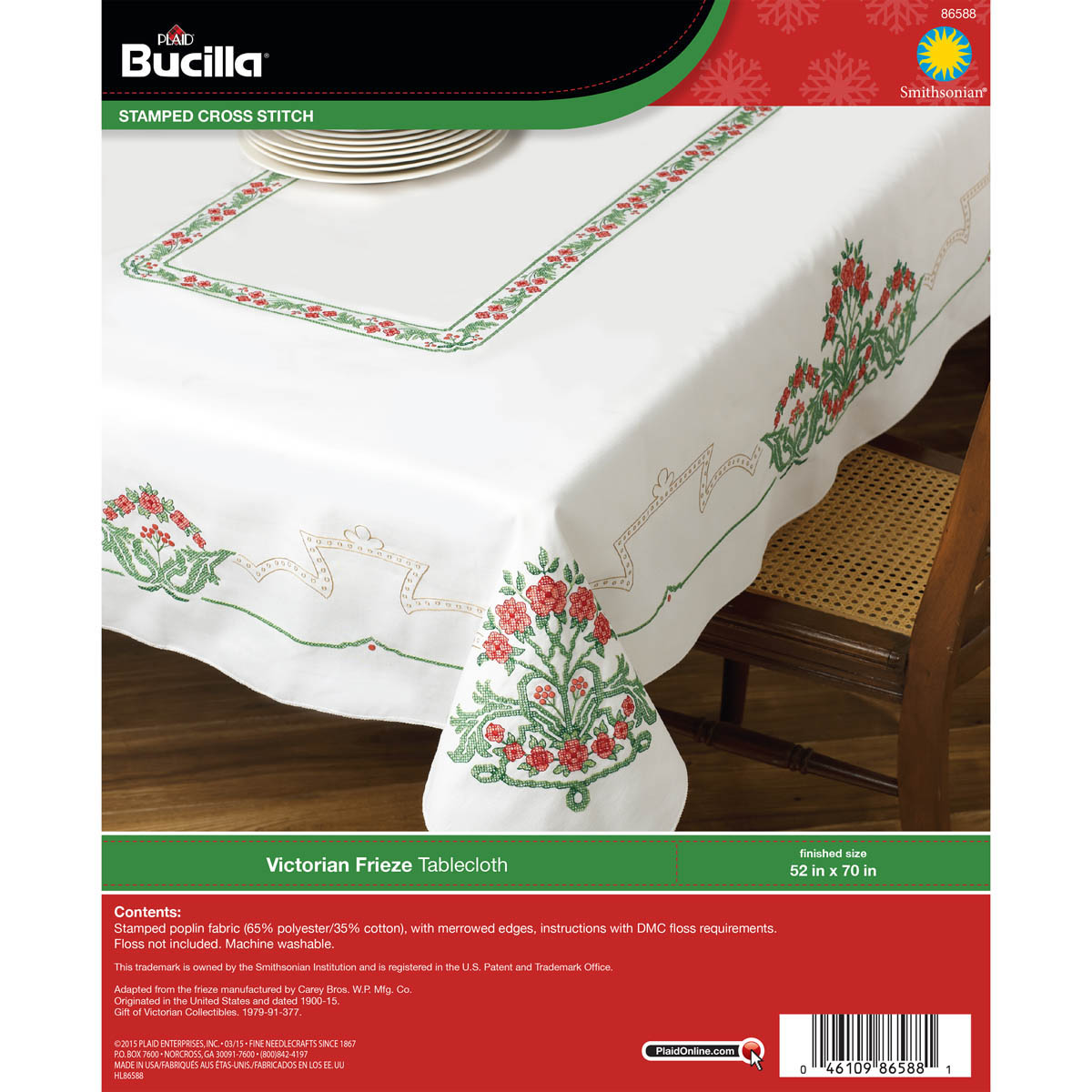 Bucilla ® Seasonal - Stamped Cross Stitch - Smithsonian ® - Table Ensembles - Victorian Frieze - Tab