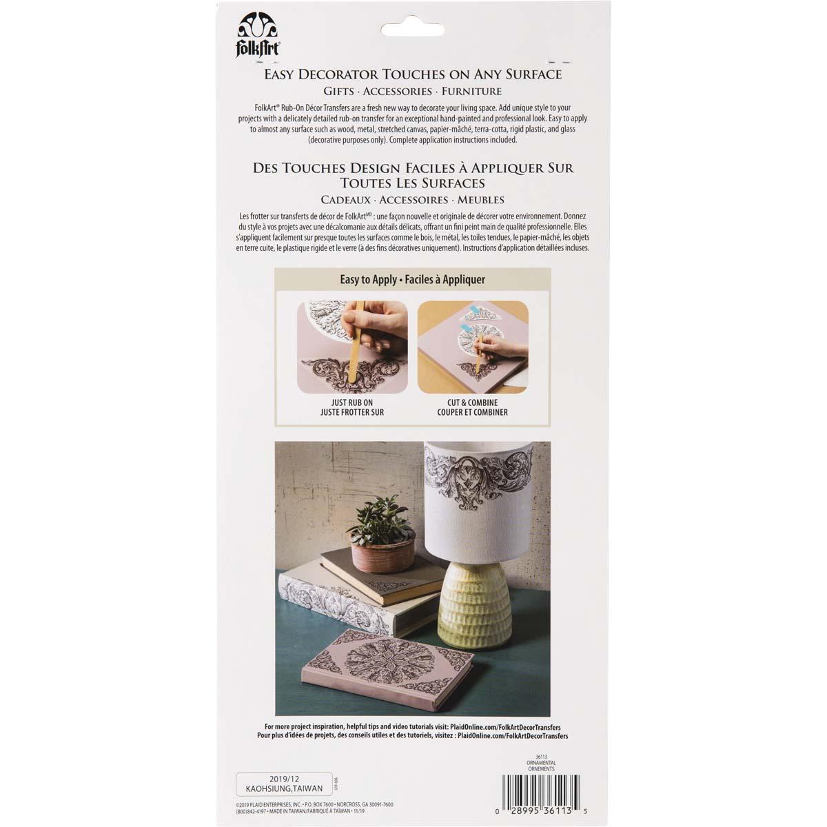 FolkArt ® Rub-On Décor Transfer - Ornamental, 3 pc. - 36113