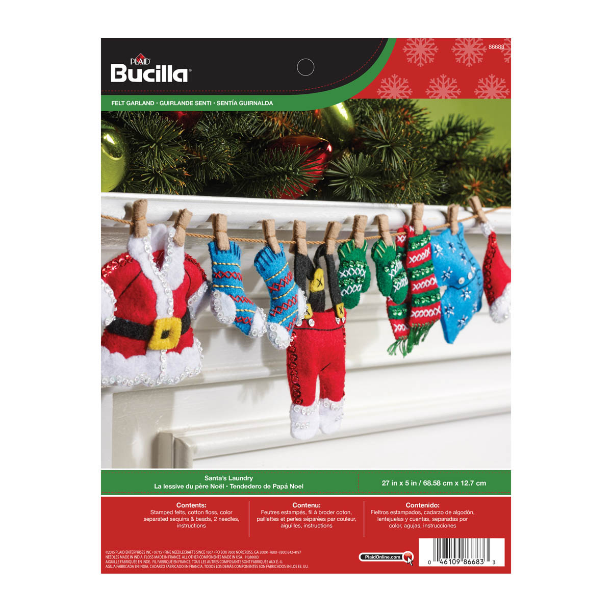 Shop Plaid Bucilla Seasonal Felt Home Decor Santa S Laundry
