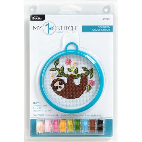 Bucilla ® My 1st Stitch™ - Counted Cross Stitch Kits - Mini - Sloth - 47892E