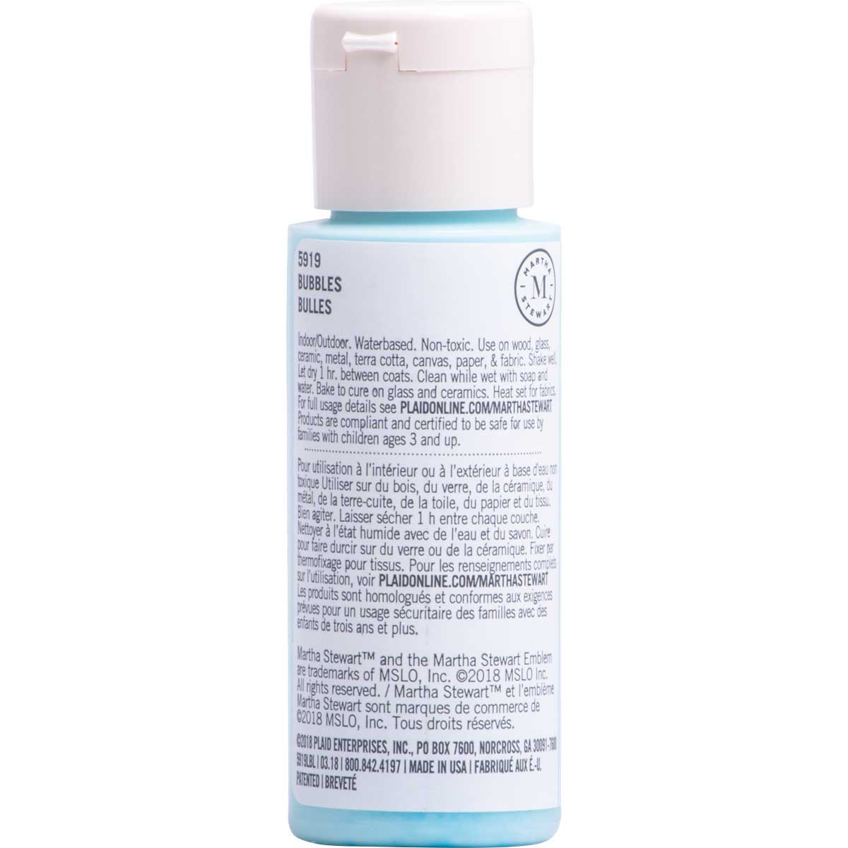 Martha Stewart ® Multi-Surface Satin Acrylic Craft Paint CPSIA - Bubbles, 2 oz. - 5919