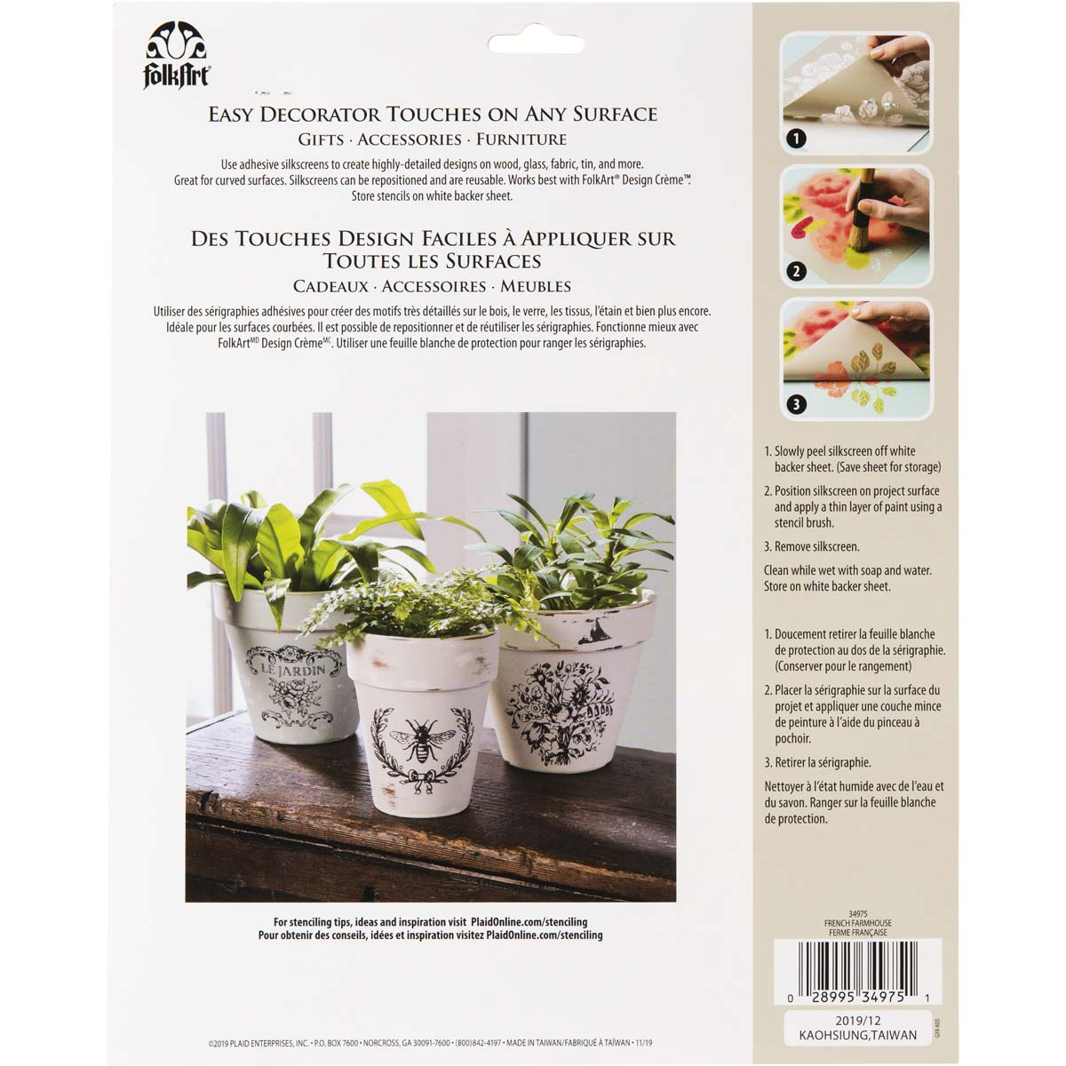 FolkArt ® Adhesive Silkscreen - French Farmhouse - 34975