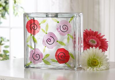 Fresh Flower Glass Block