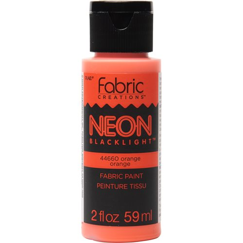 Fabric Creations™ Neon Black Light Fabric Paint - Orange, 2 oz.
