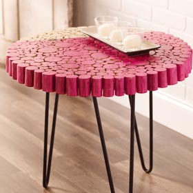 Wood Slice Side Table with Color Blocking