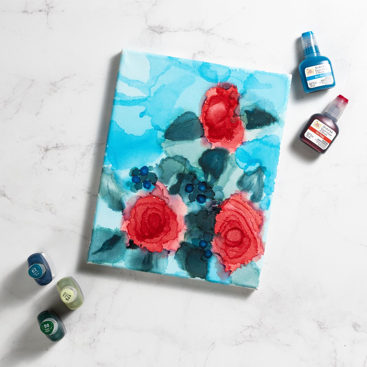 Alcohol Ink Red Rose Canvas Art