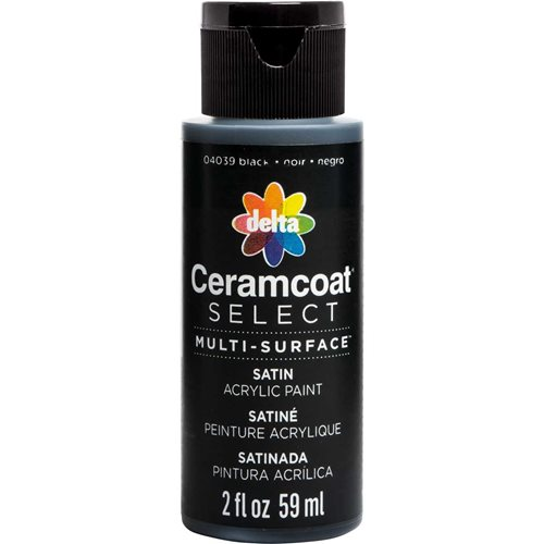 Delta Ceramcoat ® Select Multi-Surface Acrylic Paint - Satin - Black, 2 oz. - 04039
