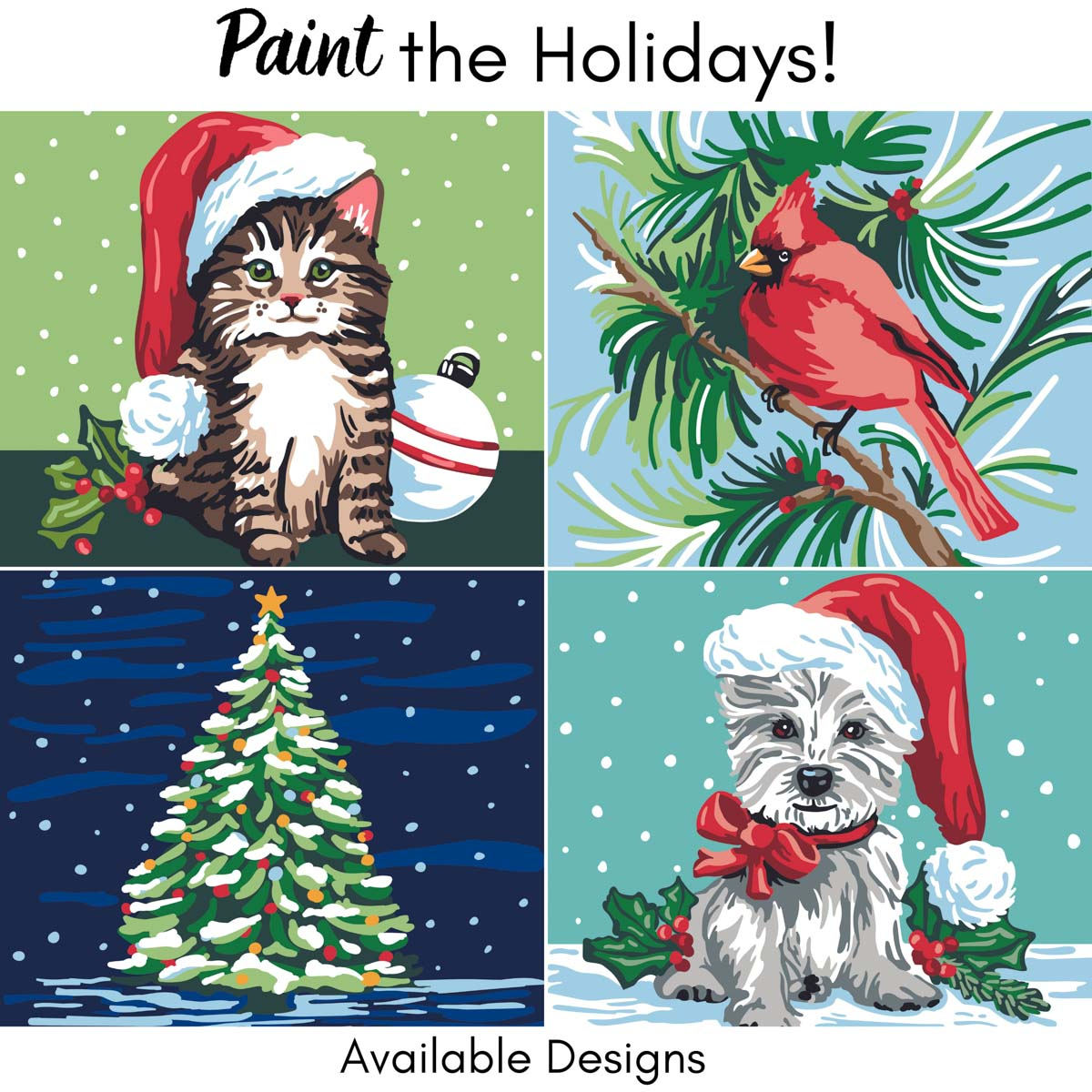 Plaid ® Let's Paint™ Modern Paint-by-Number - Christmas Kitten - 17924