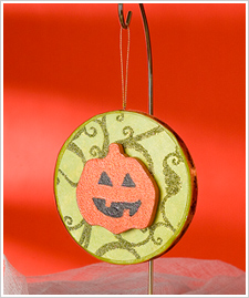 Happy Pumpkin Glitter Ornament