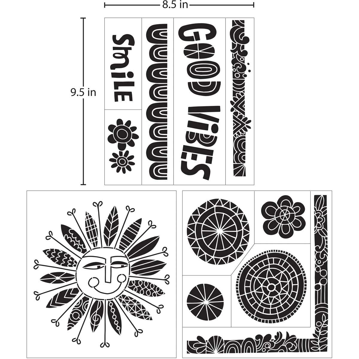 Hallmark Handcrafted Adhesive Stencils - Doodle Design Pack, 8-1/2