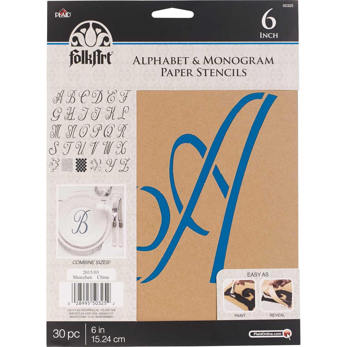 FolkArt ® Alphabet & Monogram Paper Stencils - Script Font, 6