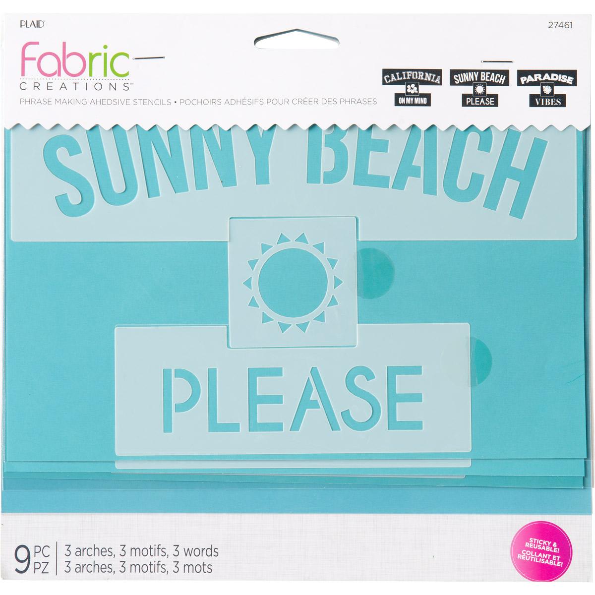 Fabric Creations™ Adhesive Stencils - Phrase Making - Beach