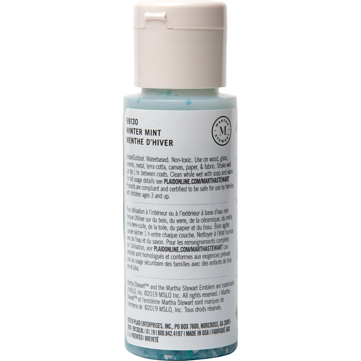 Martha Stewart ® Multi-Surface Vintage Leaf Glitter Acrylic Craft Paint CPSIA - Wintermint, 2 oz. -
