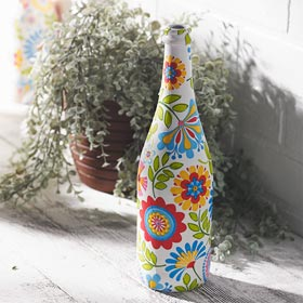 Napkin Decoupage Milk Bottle