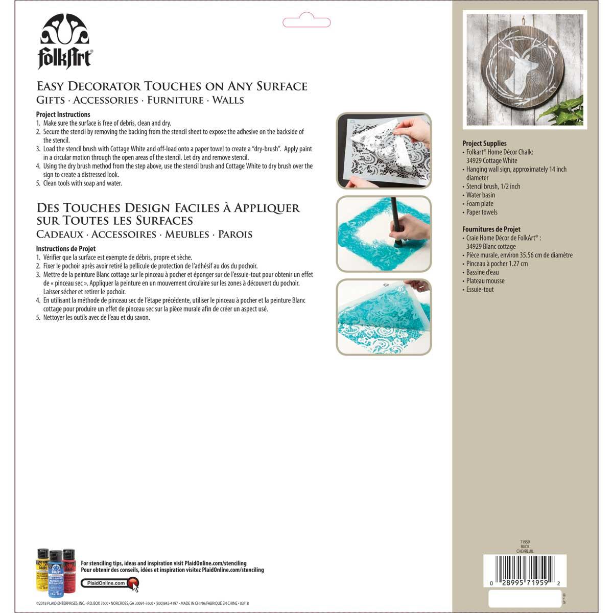 FolkArt ® Painting Stencils - Adhesive Laser - Buck - 71959