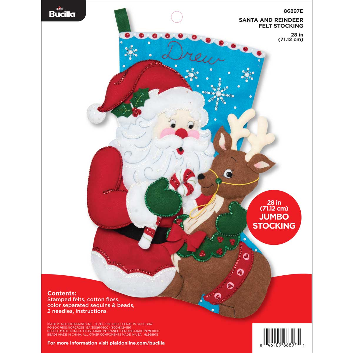Bucilla ® Seasonal - Felt - Stocking Kits - Santa and Reindeer Jumbo Stocking