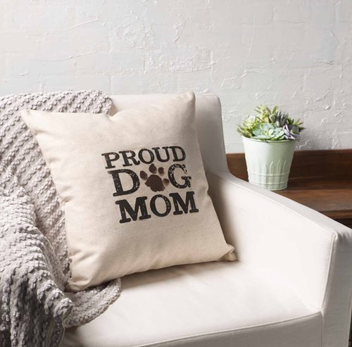 """Proud Dog Mom"" Pillow"