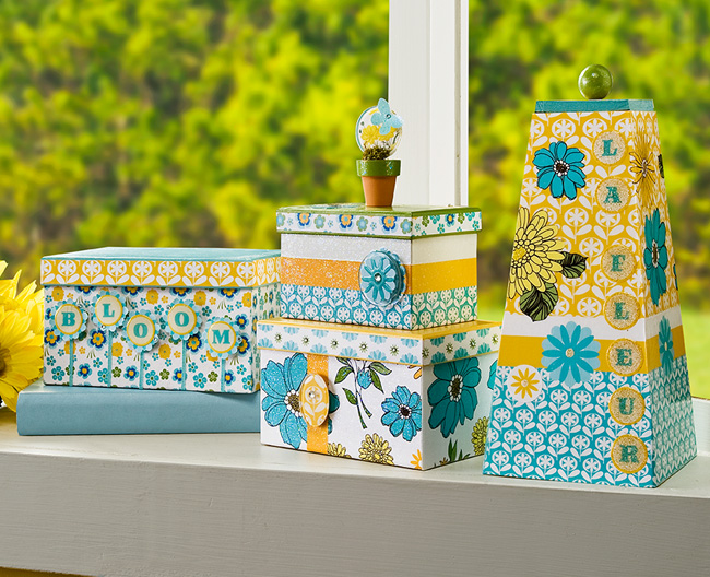 Modern Vintage Floral Stacking Boxes