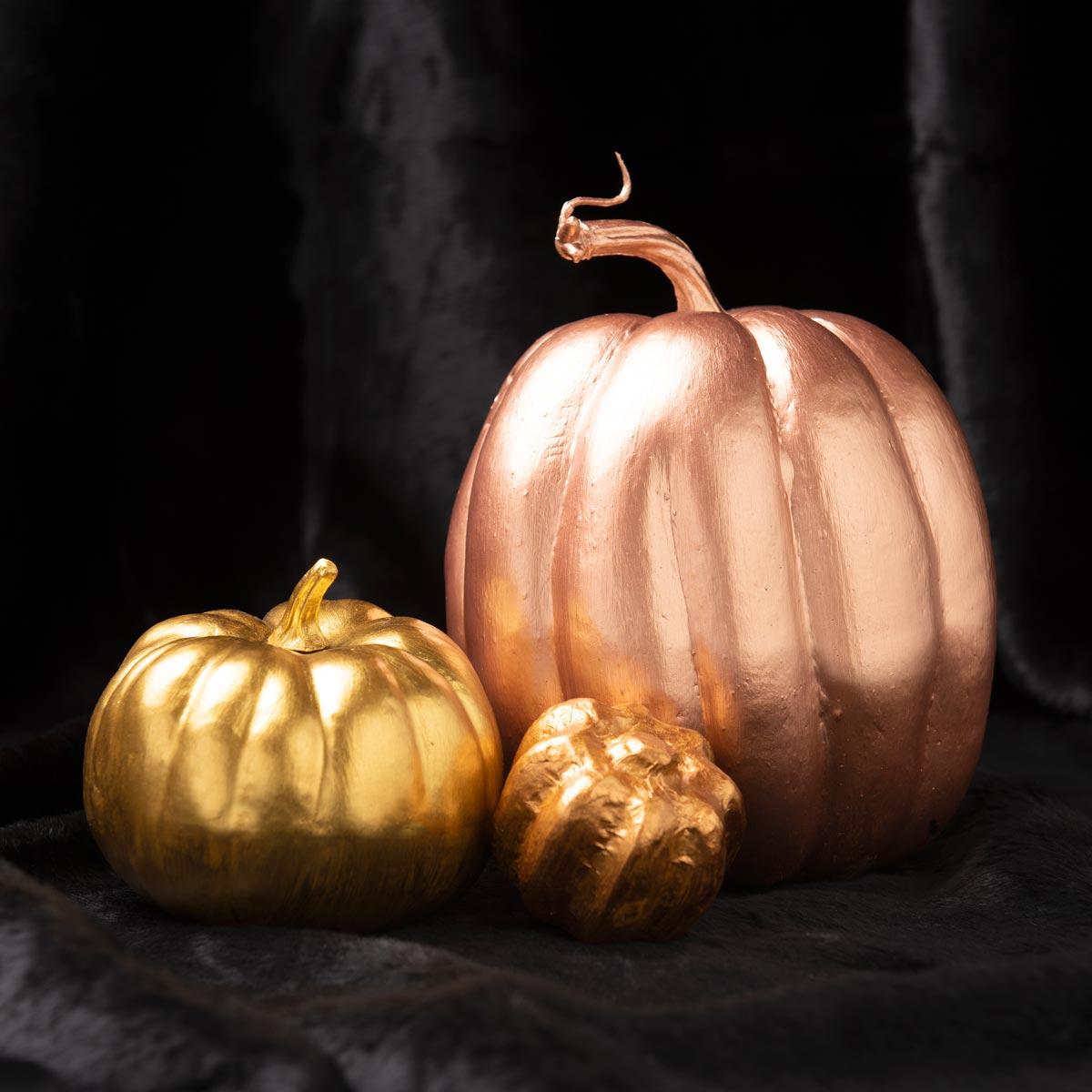 Metallic Halloween No-Carve Pumpkins
