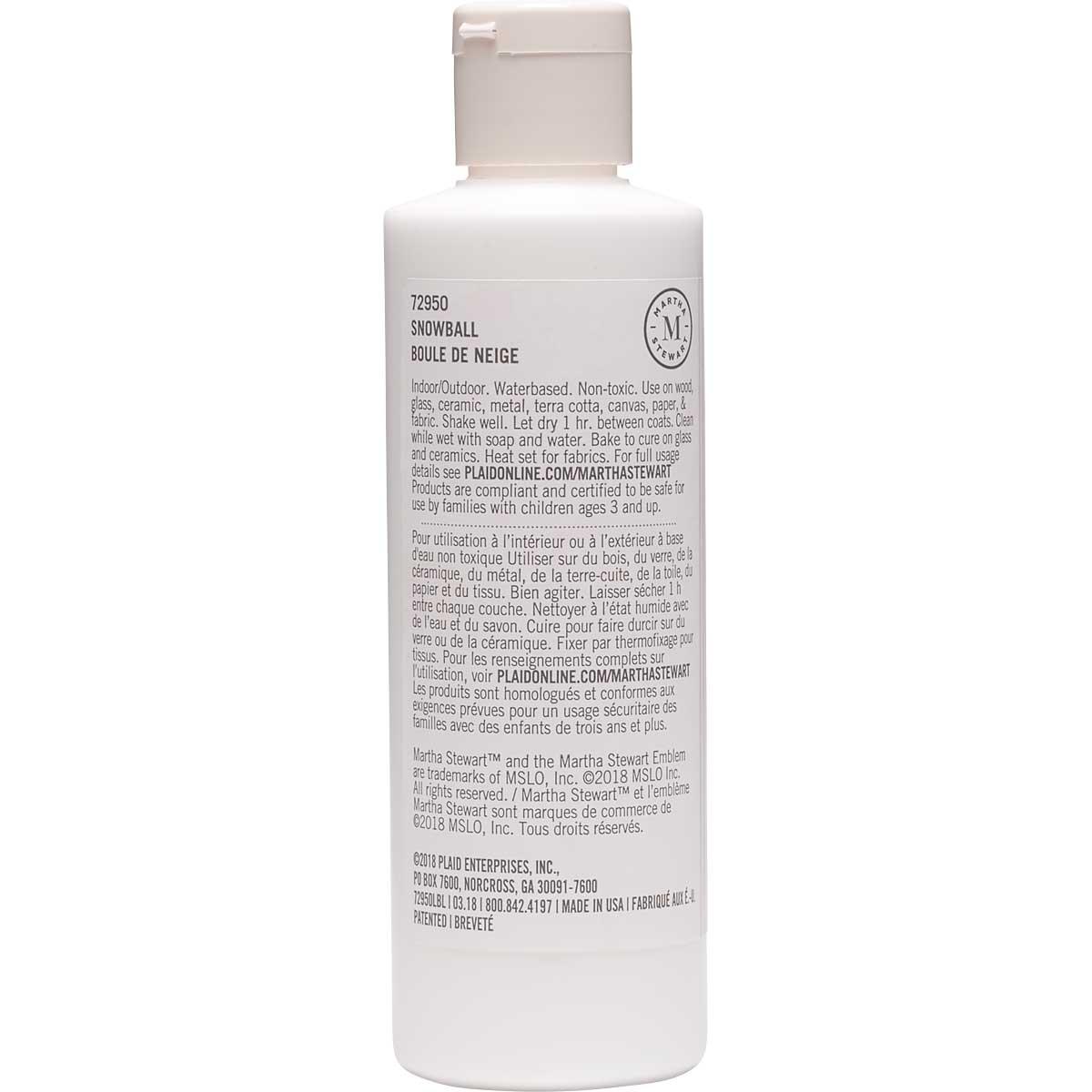 Martha Stewart ® Multi-Surface Satin Acrylic Craft Paint CPSIA - Snowball, 8 oz. - 72950