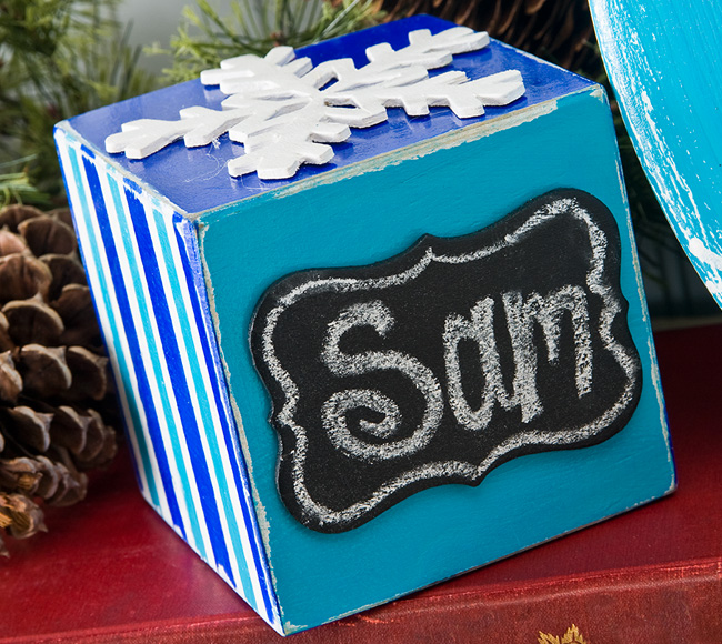 Turquoise Christmas Place Cube