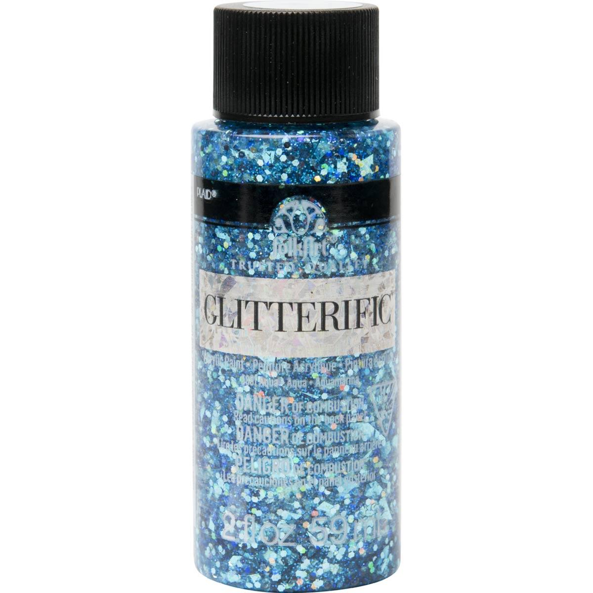 FolkArt ® Glitterific™ Acrylic Paint - Aqua, 2 oz.