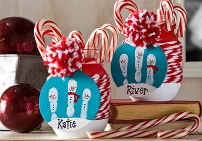 Kids Christmas Glasses with Handprint Snowman Tags