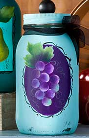 Painted Grapes Canning Jar