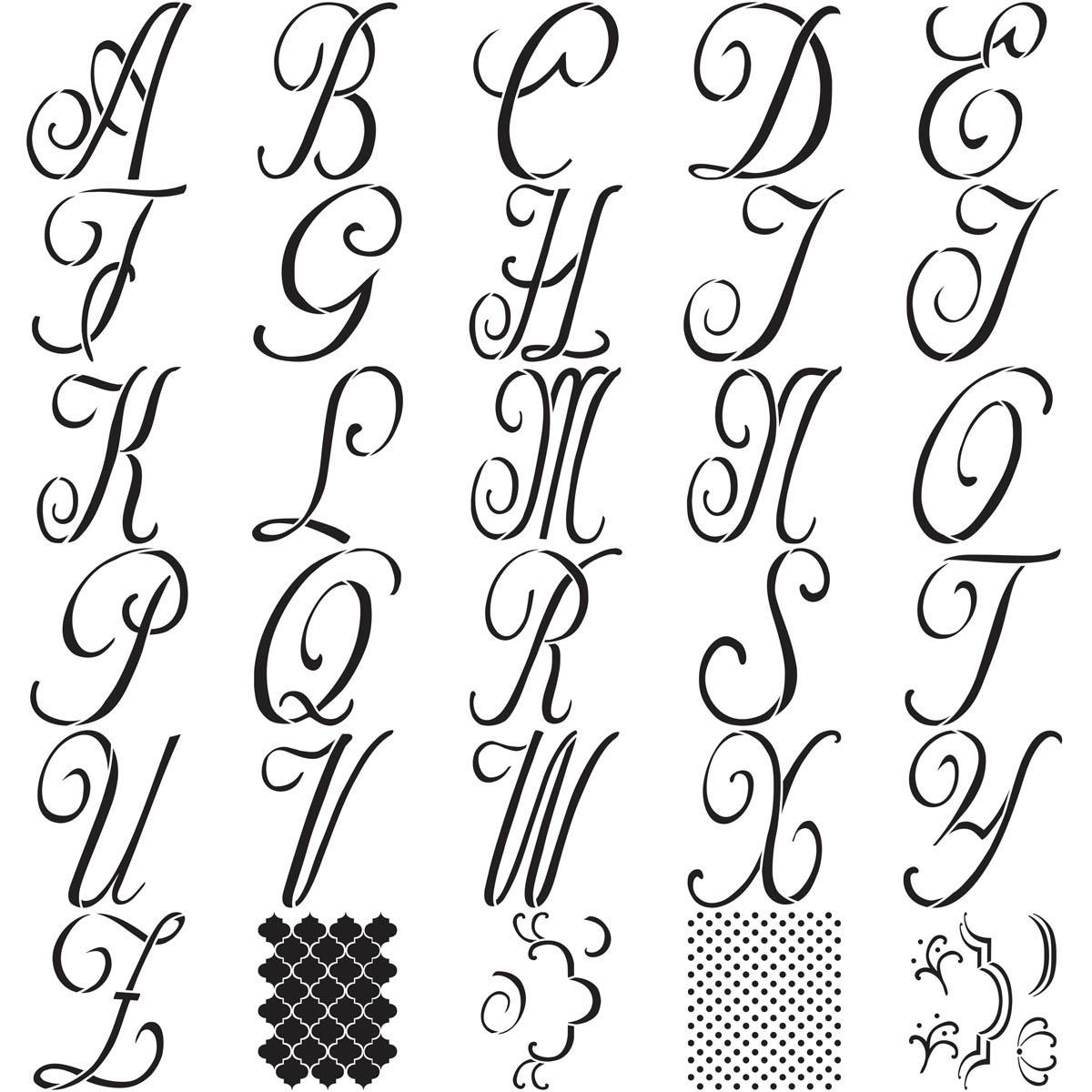 FolkArt ® Alphabet & Monogram Paper Stencils - Script Font, 7