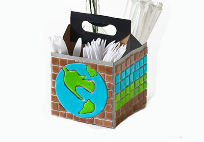 Earth Day Recycled Tray and Plastic Cutlery Container