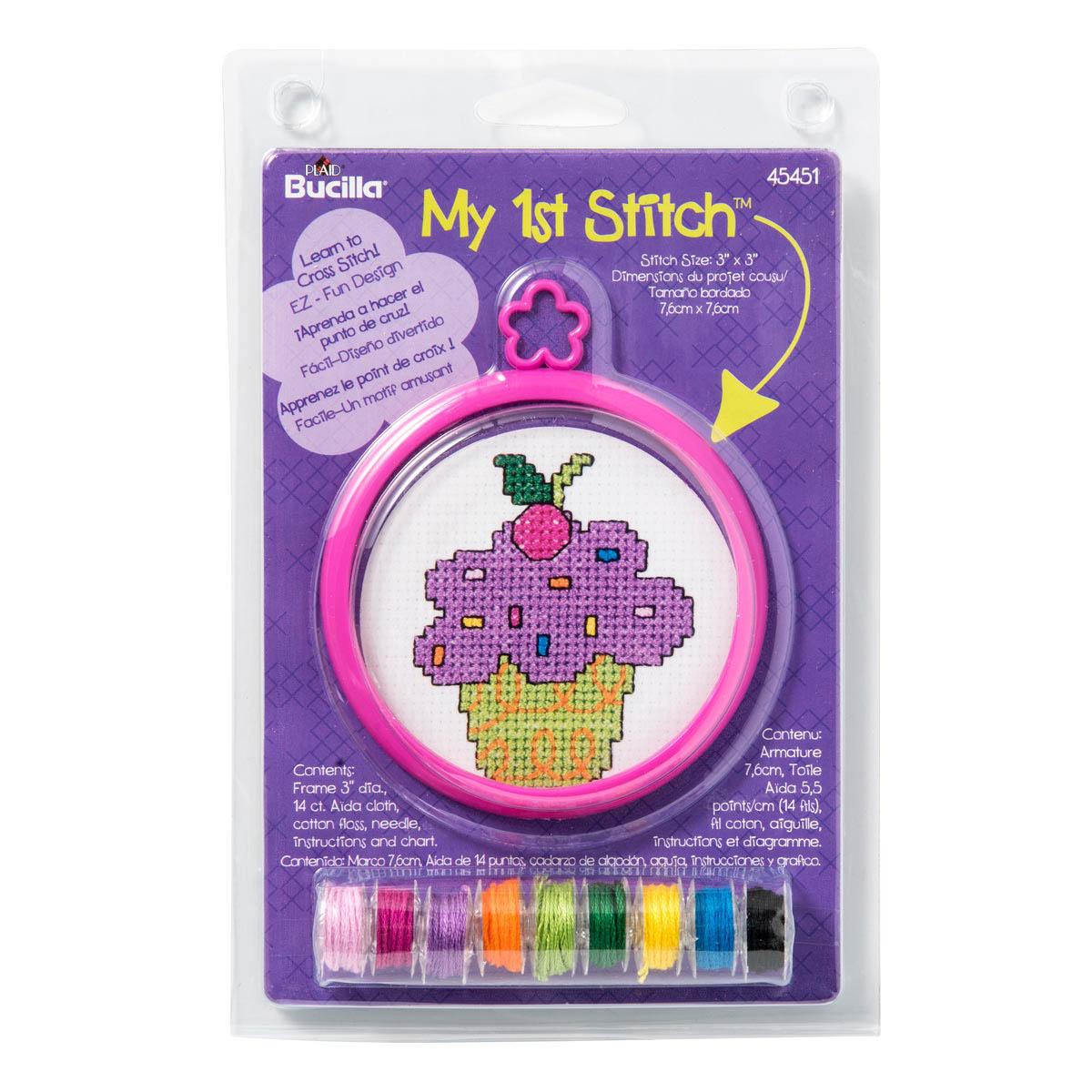 Bucilla ® My 1st Stitch™ - Counted Cross Stitch Kits - Mini - Cupcake - 45451