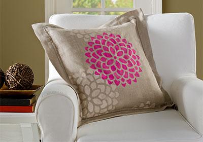 Stenciled Mum Pillow