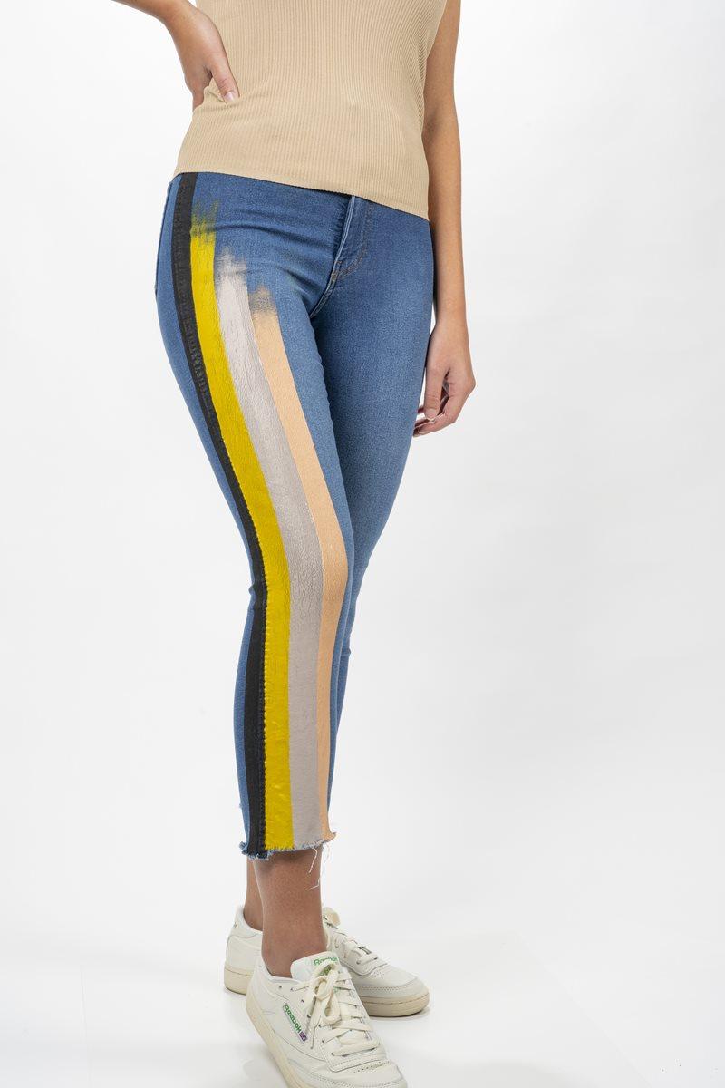 Retro Striped Jeans