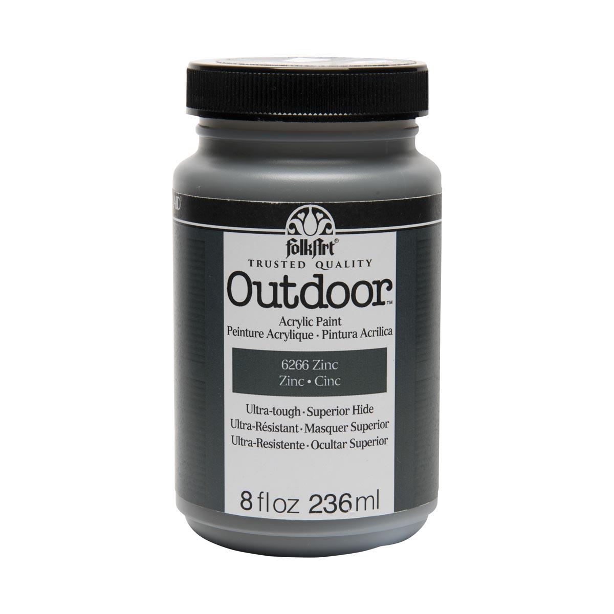 FolkArt ® Outdoor™ Acrylic Colors - Zinc, 8 oz. - 6266