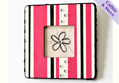 Pink & Black Striped Frame