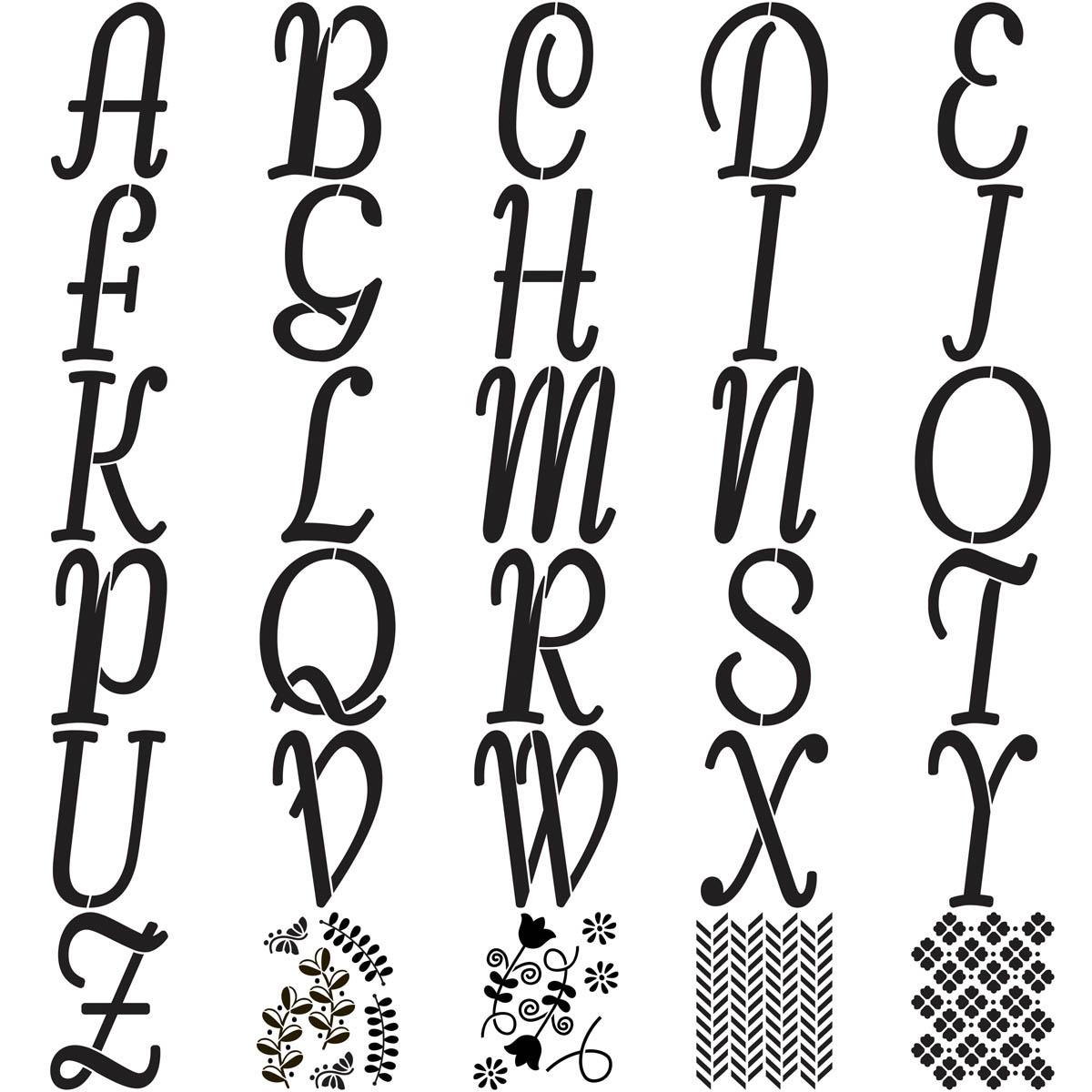 FolkArt ® Alphabet & Monogram Paper Stencils - Italic Font, 8