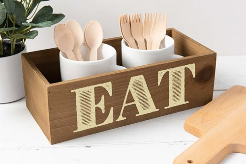 """Eat"" Stenciled Table Decor"