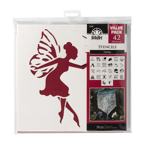 "FolkArt ® Stencil Value Packs - Fantasy, 12"" x 12"" - 6098E"